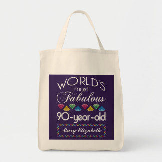 90th Birthday Most Fabulous Colorful Gems Purple Tote Bag