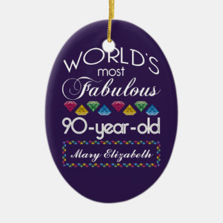 90th Birthday Most Fabulous Colorful Gems Purple Christmas Ornament