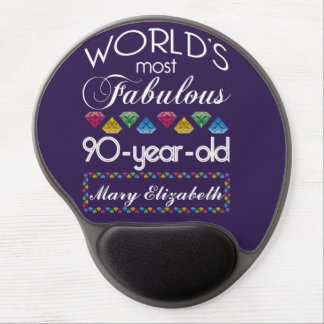 90th Birthday Most Fabulous Colorful Gems Purple Gel Mouse Mat
