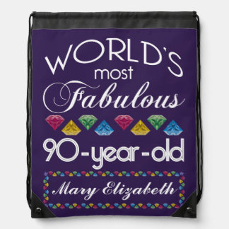 90th Birthday Most Fabulous Colorful Gems Purple Drawstring Backpack