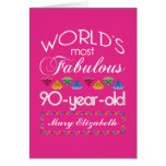 90th Birthday Most Fabulous Colourful Gems Pink Greeting Card