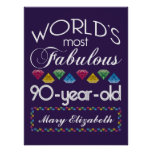 90th Birthday Most Fabulous Colourful Gems Purple Poster