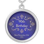 90th Birthday Necklace - Vintage Frame Pendant