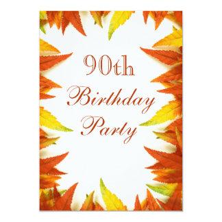 90th Birthday Party Autumn/Fall Leaves 13 Cm X 18 Cm Invitation Card