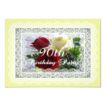 90th Birthday Party Celebration-Red/Yellow Roses Invites