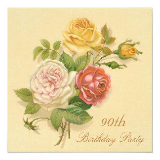 90th Birthday Party Chic Vintage Roses 13 Cm X 13 Cm Square Invitation Card
