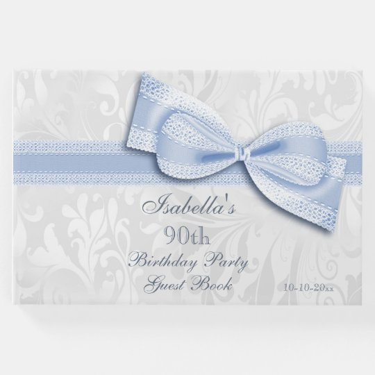 90th Birthday Party Damask and Bow Guest Book