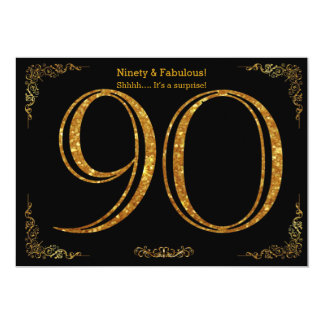 90th Birthday party,Gatsby styl,black gold glitter Card