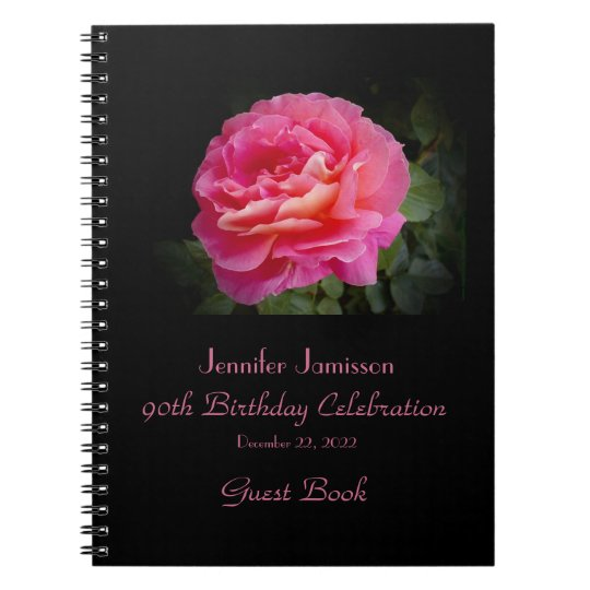 90th Birthday Party Guest Book, Pink Rose Notebooks