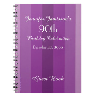 90th Birthday Party Guest Book Purple Stripe