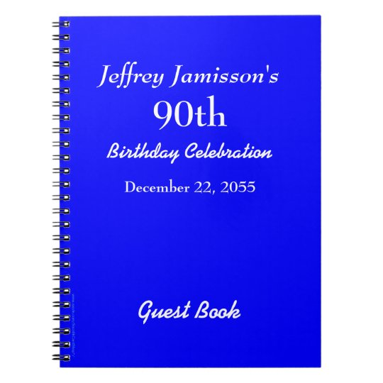 90th Birthday Party Guest Book Royal Blue