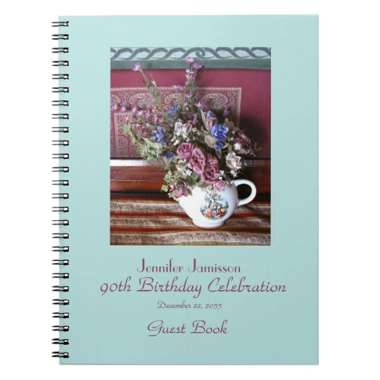 90th Birthday Party Guest Book, Vintage Teapot Spiral