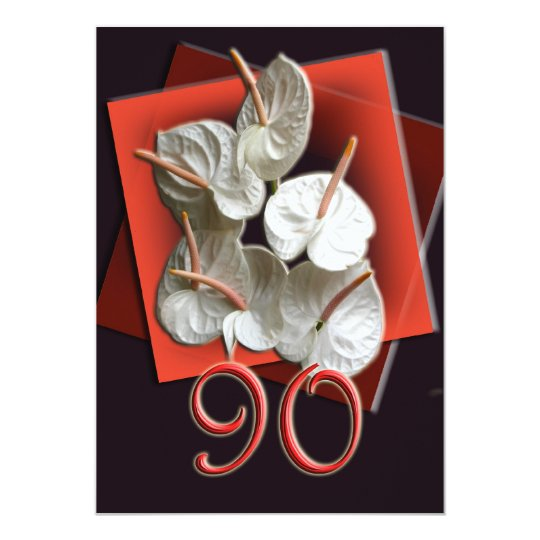 90th Birthday Party Invitation - Antheriums