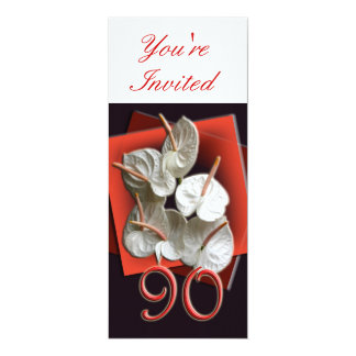 90th Birthday Party Invitation - Anthuriums
