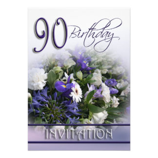 90th Birthday Party Invitation - Blue bouquet