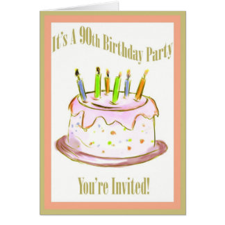 90th Birthday Party Invitation Card