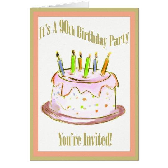90th Birthday Party Invitation Card