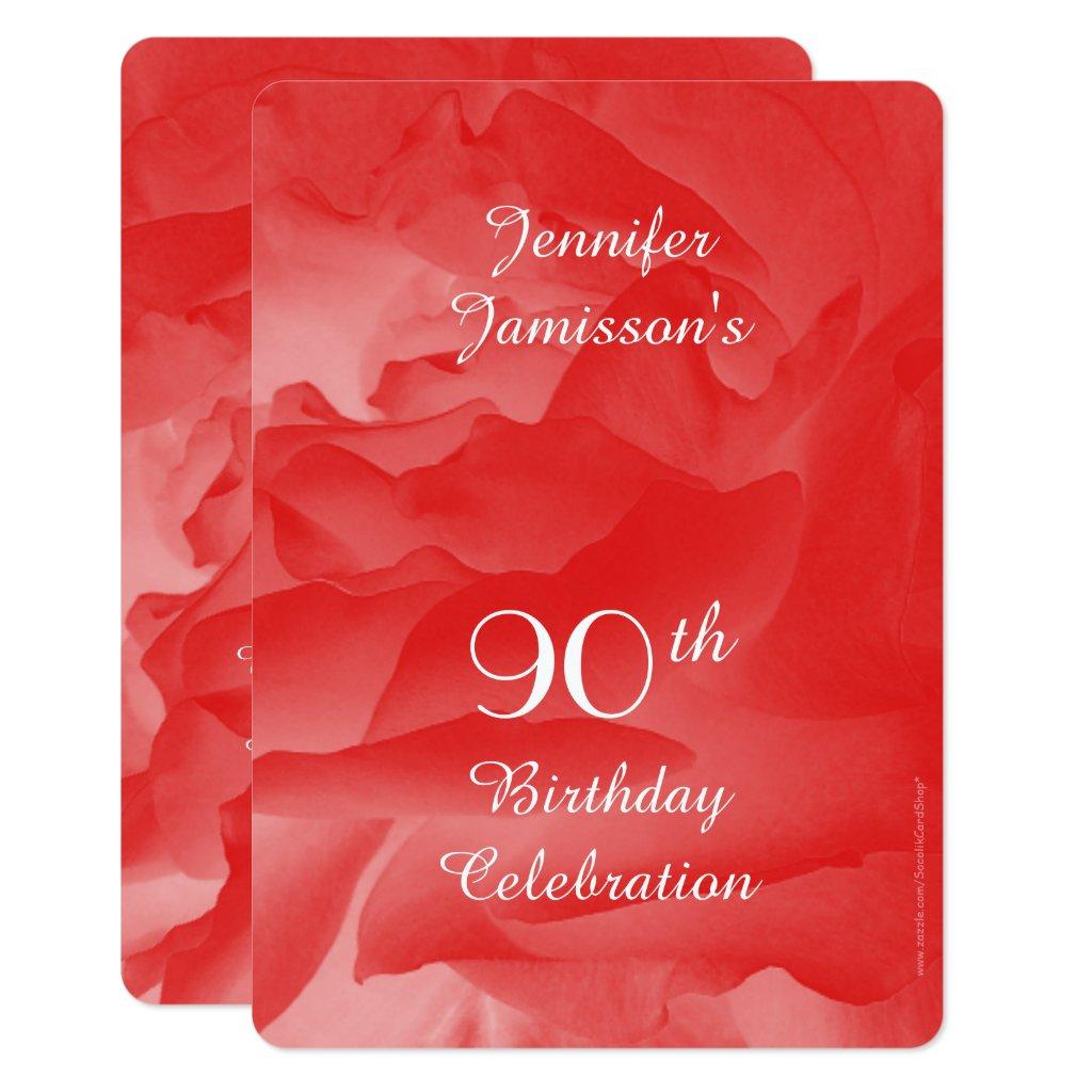 90th Birthday Party Invitation, Coral Pink Rose Invitation