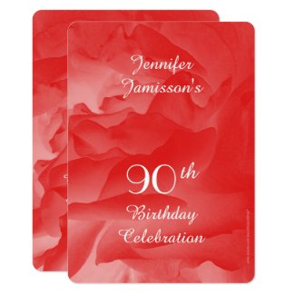 90th Birthday Party Invitation, Coral Pink Rose Invitation