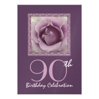 90th Birthday Party Invitation DREAMY PURPLE Rose