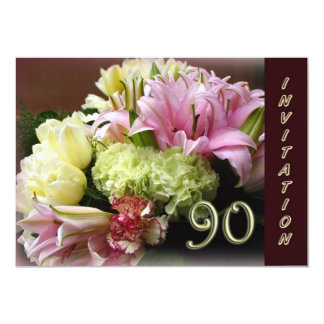 90th Birthday Party Invitation - Floral bouquet