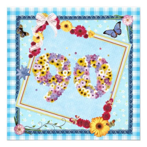90th Birthday party Invitation flowers,butterflies