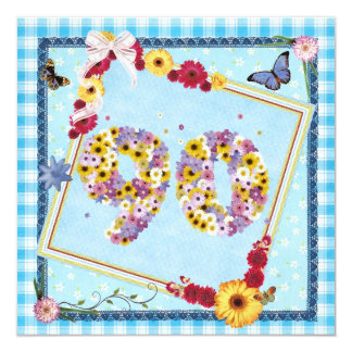 "90th Birthday party Invitation flowers,butterflies 5.25"" Square Invitation Card"