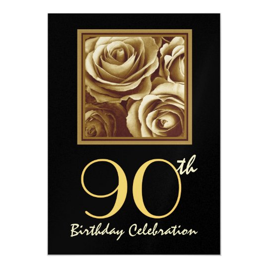 90th Birthday Party Invitation Gold Rose Bouquet