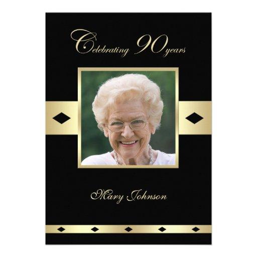 90th Birthday Party Invitation -- Photo 90th Personalized Invitation