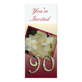 90th Birthday Party Invitation - White tulips 10 Cm X 24 Cm Invitation Card