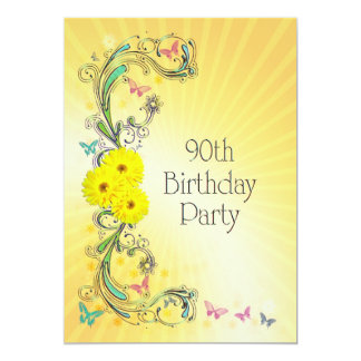90th Birthday party Invitation with yellow flowers
