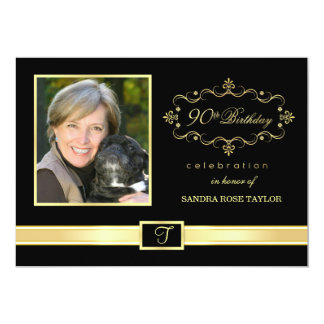 "90th Birthday Party Invitations with Photo 5"" X 7"" Invitation Card"