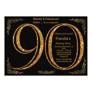 90th,Birthday party, Ninety, Gatsby, black & gold 13 Cm X 18 Cm Invitation Card