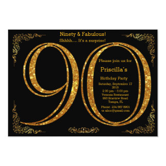 90th,Birthday party, Ninety, Gatsby, black & gold Card