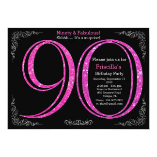 90th,Birthday party, Ninety, Gatsby, black silver 13 Cm X 18 Cm Invitation Card