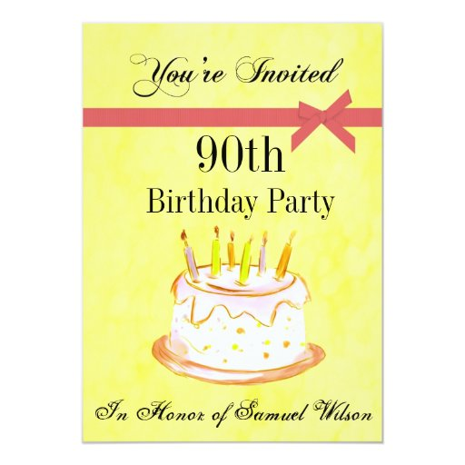 90th Birthday Party Personalised Invitation