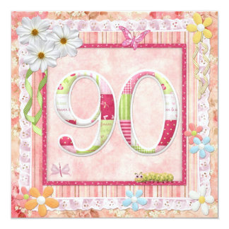 90th birthday party scrapbooking style 13 cm x 13 cm square invitation card