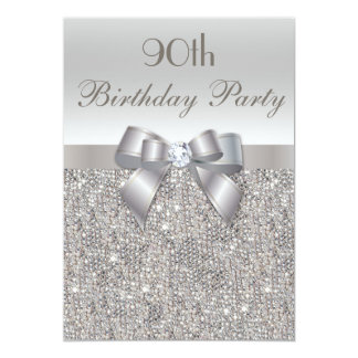 90th Birthday Party Silver Sequins, Bow & Diamond Announcement