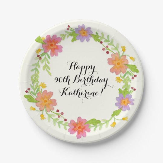 90th Birthday Party Watercolor Modern Floral 7 Inch