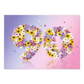 90th Birthday party, with flowered letters Invitations
