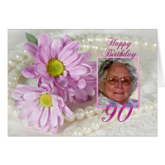 90th birthday photo card with daisies
