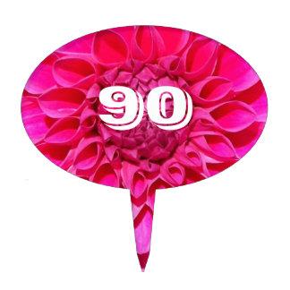 90th Birthday Pink Dahlia Photo Cake Picks