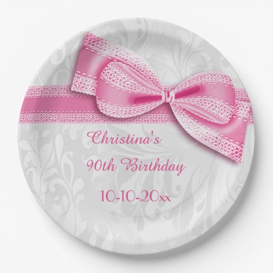 90th Birthday Pink Damask and Faux Bow Paper