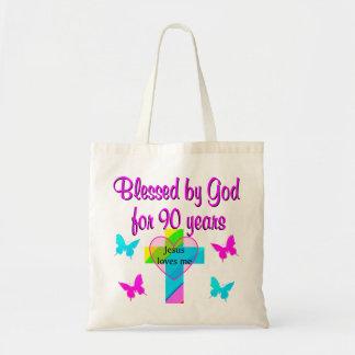 90TH BIRTHDAY PRAYER BUDGET TOTE BAG