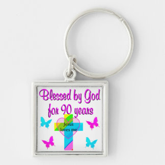 90TH BIRTHDAY PRAYER Silver-Colored SQUARE KEYCHAIN