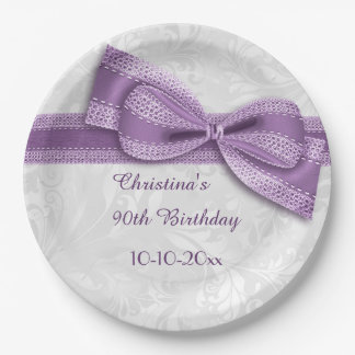90th Birthday Purple Damask and Faux Bow 9 Inch Paper Plate