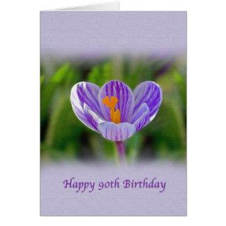 90th Birthday, Religious, Crocus Flower Greeting Card