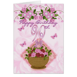 90th Birthday Special Lady, Roses And Flowers - 90 Card