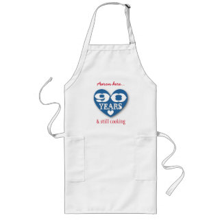 90th Birthday Still Cooking Blue Heart Red 90A Long Apron