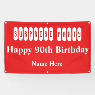 90th Birthday Surprise Party Banner
